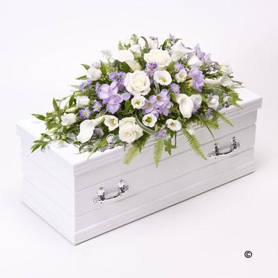 Childrens Casket Spray   Blue and Lilac *