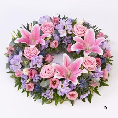 Rose and Lily Wreath   Pink and Lilac *
