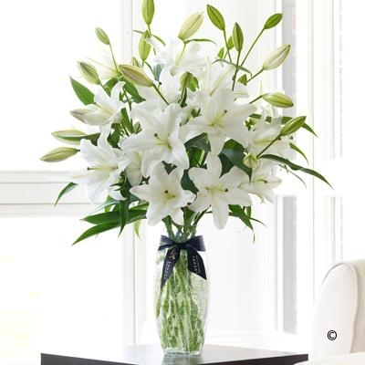Luxury White Oriental Lily Vase. *