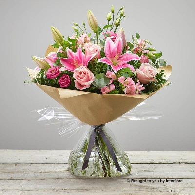 Pink Delight New Baby Hand tied