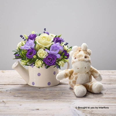 Purple Rain New Baby Arrangement with Gigi Giraffe
