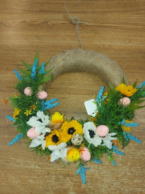 White,Yellow& Blue Door Wreath