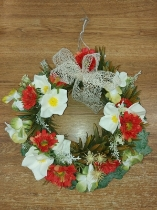 Red Poppy and Hydrangea Door Wreath